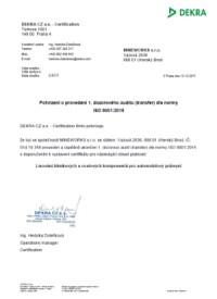 DEKRA CZ a.s. - certifikát